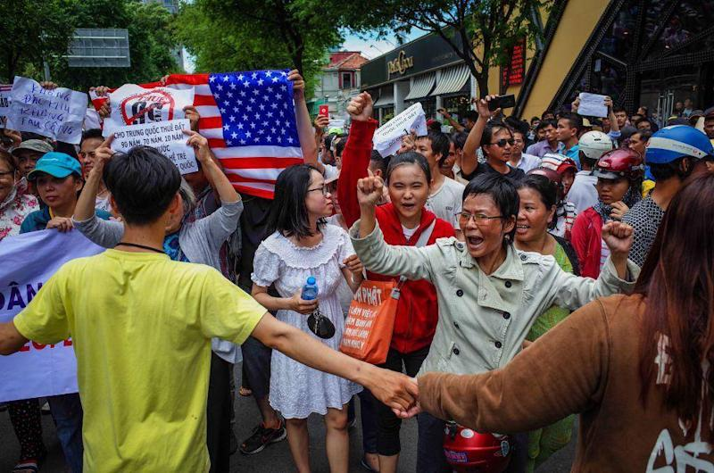 Vietnamese protesters filled the streets in Ho Chi Minh City (AFP/Getty Images)