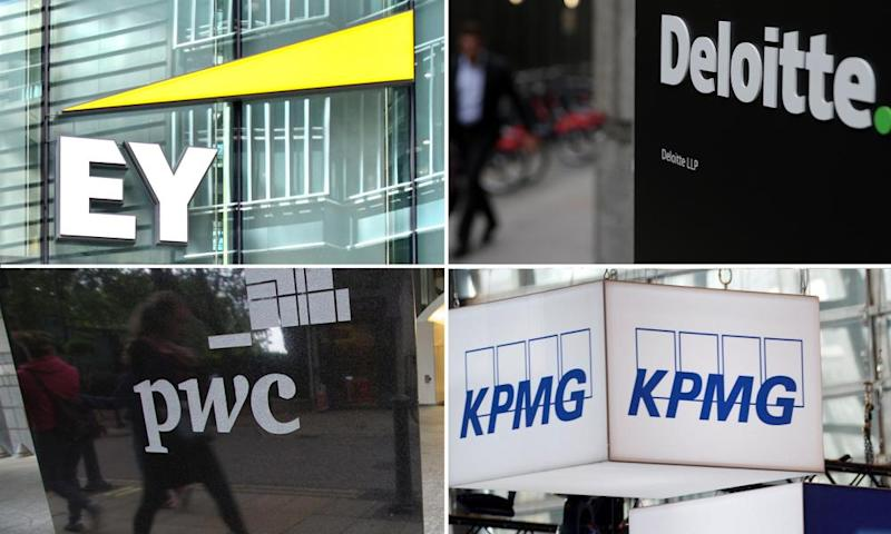 The big four accountancy firms: EY, Deloitte, PwC and KPMG