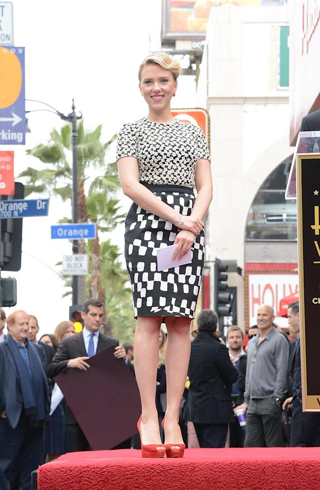 HOLLYWOOD, CA - MAY 02:  Actress Scarlett Johansson is honored with a star on The Hollywood Walk Of Fame on May 2, 2012 in Hollywood, California.  (Photo by Jason Merritt/Getty Images)