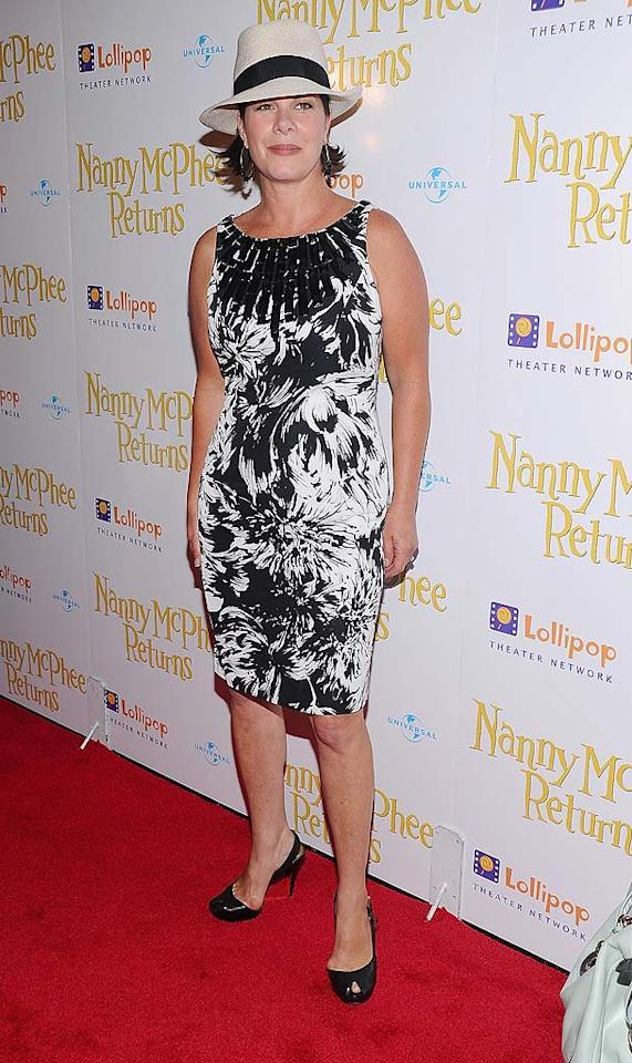 "Marcia Gay Harden's Carmen Marc Valvo dress -- which she wore to the NY premiere of ""Nanny McPhee Returns"" -- was flattering and age-appropriate, but her too-tight peep-toes and outdated fedora failed her. Jamie McCarthy/<a href=""http://www.wireimage.com"" target=""new"">WireImage.com</a> - August 17, 2010"