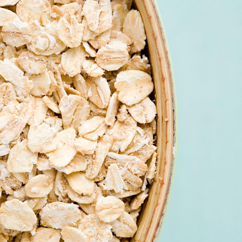 """<p>Speaking of fiber, the same goes for oats: Eating a <a href=""""https://www.redbookmag.com/food-recipes/g2813/fiber-foods/"""" rel=""""nofollow noopener"""" target=""""_blank"""" data-ylk=""""slk:hefty bowl of oatmeal"""" class=""""link rapid-noclick-resp"""">hefty bowl of oatmeal</a> in the morning can help lower your cholesterol <em>and </em>keep you full and satisfied until lunch.</p>"""