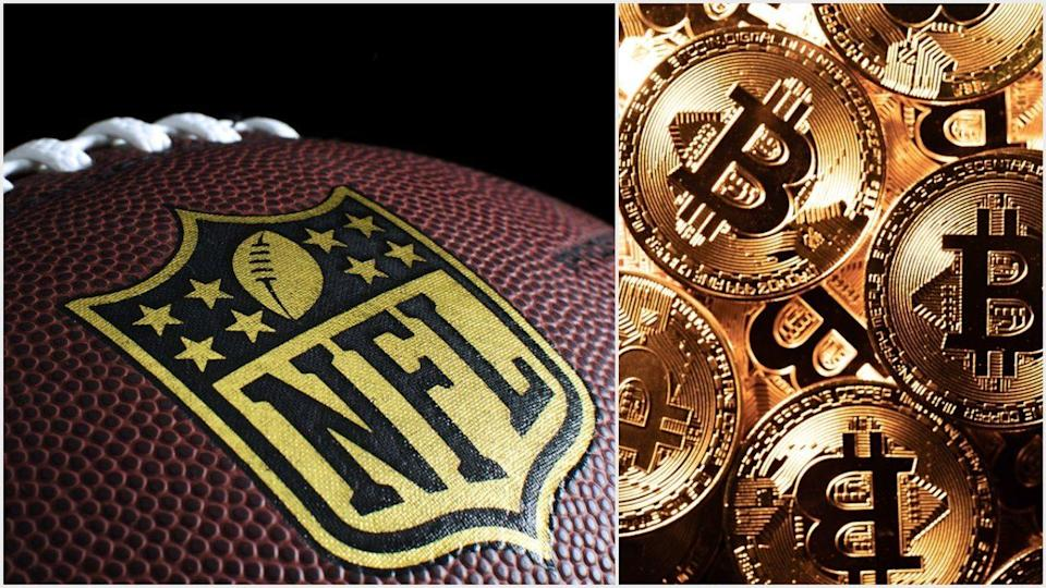 Two-time Pro Bowler and Super Bowl Champ Russell Okung has displayed bitcoin and BTC mining stickers on his locker for the world to see. | Source: (i) Shutterstock (ii) Shutterstock; Edited by CCN