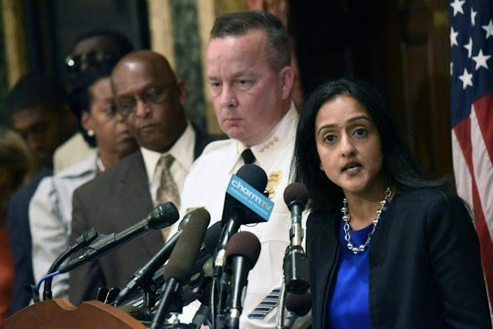 Right, Vanita Gupta discusses Justice Department findings about the Baltimore Police Department, August 10, 2016.