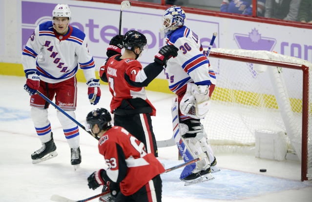 New York Rangers goaltender Henrik Lundqvist (30) reacts after giving up a power-play goal to the Ottawa Senators during the second period of an NHL hockey game Friday, Nov. 22, 2019, in Ottawa, Ontario. (Sean Kilpatrick/The Canadian Press via AP)