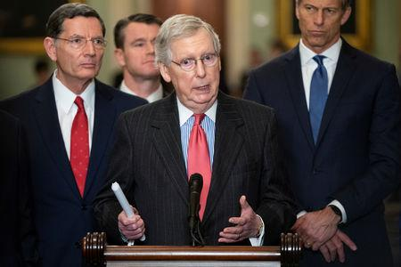 Senate Majority Leader Mitch McConnell (R-KY) speaks to the media after a Senate Republican Caucus lunch on Capitol Hill in Washington