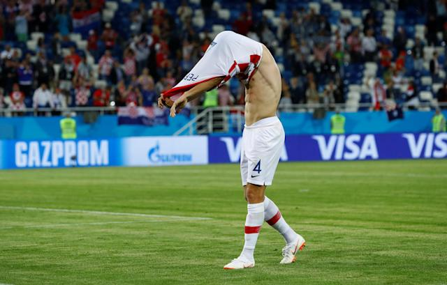 Soccer Football - World Cup - Group D - Croatia vs Nigeria - Kaliningrad Stadium, Kaliningrad, Russia - June 16, 2018 Croatia's Ivan Perisic takes off his shirt as he celebrates after the match REUTERS/Fabrizio Bensch
