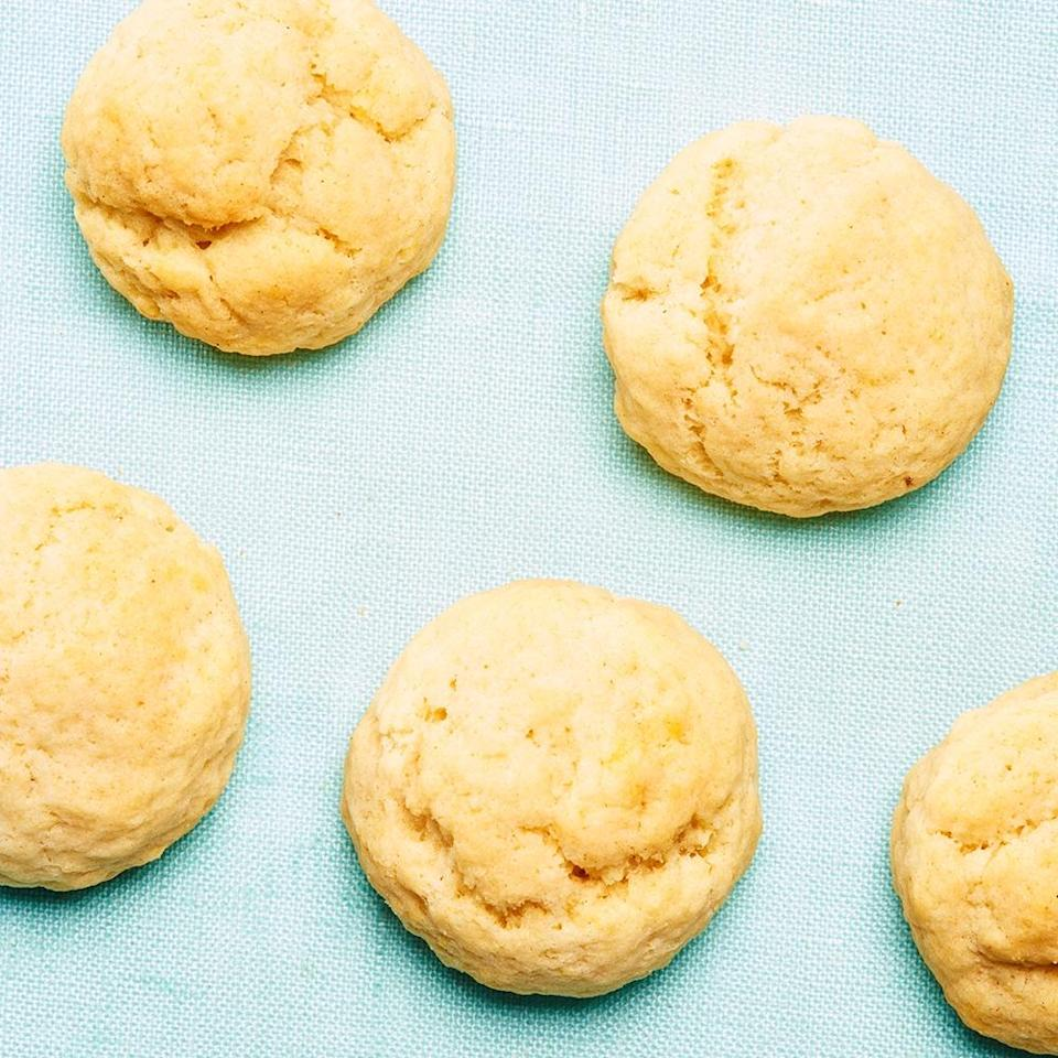 """<strong>Grandpa's Cookies</strong><br>Yield: Approximately 100 cookies<br><br><strong>Maria del Russo:</strong> <em>""""My family has actually forgotten the real name for these cookies, because they're so closely linked to my grandfather — they were his favorites! They're perfect dunked in coffee. I tend to sneak some in the days leading up to Christmas day and eat them for breakfast.""""</em><br><br><strong>Ingredients</strong><br>3 1/2 lbs flour<br>1 lb sugar<br>1 small can (6 oz) baking powder<br>1/2 lb butter (room temperature)<br>1 pound Crisco<br>6 eggs (room temperature)<br>1 cup water<br><br><strong>Instructions</strong><br>1. Pile flour onto a flat surface. Add sugar and baking powder. Mix well.<br><br>2. Make a well in the center of the mixed pile. Add butter and Crisco. Mix well until it makes pea-sized pieces.<br><br>3. Make a well in the center of that mixed pile. Add eggs and water. Bring together and mix/roll very well until it makes a big, fluffy dough.<br><br>4. Take one piece at a time and roll it into circles, small S's, and any other shape your heart desires.<br><br>5. Put on a cookie sheet lined with parchment paper. Cook at 350ºF until bottoms are golden brown.<span class=""""copyright"""">Photographed by Ted Cavanaugh; Food Styling by Claudia Ficca.</span>"""