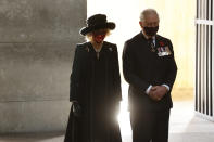 Camilla, Duchess of Cornwall and Britain's Prince Charles, Prince of Wales pay their respect during a wreath laying ceremony on national Memorial Day at the Neue Wache in Berlin, on Nov. 15, 2020. The royals are in the German capital for a wreath laying ceremony on national Memorial Day at Neue Wache and a visit to parliament on November 15, 2020. ( Odd Andersen / Pool via AP)