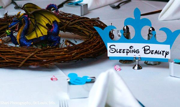 This couple really really loves disney for Sleeping beauty wedding table