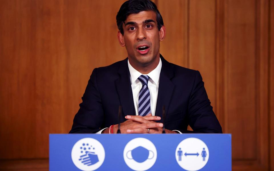 Chancellor of the Exchequer Rishi Sunak, during a media briefing in Downing Street, London, on coronavirus - Henry Nicholls/PA Wire