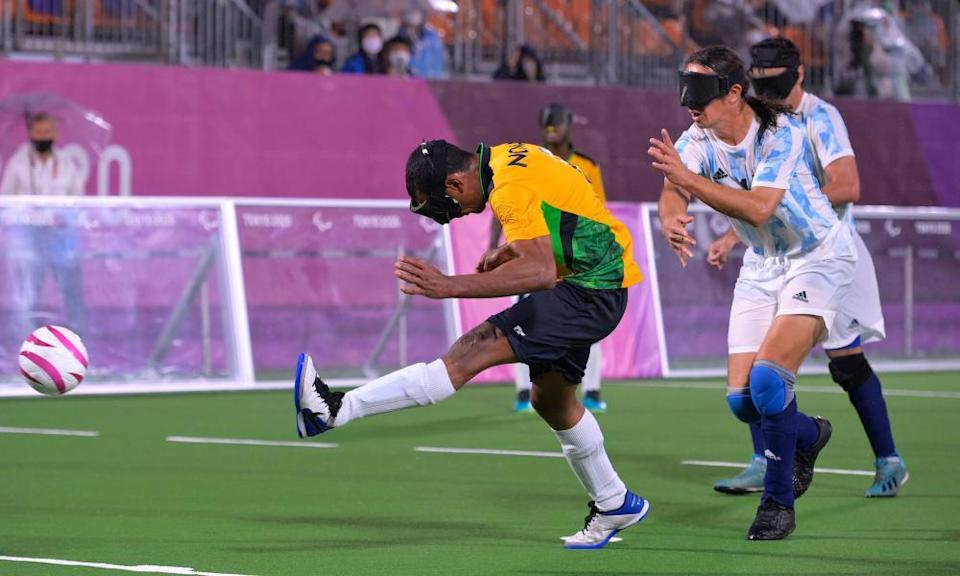 Raimundo Mendes of Brazil shoots at goal during football 5-a-side gold medal match against Argentina.