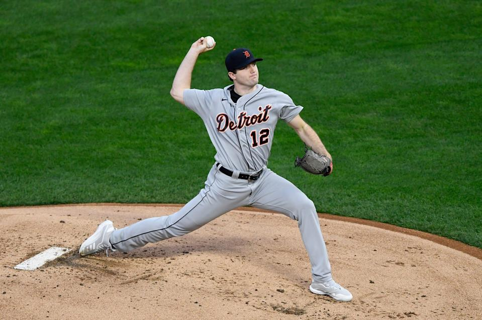 Casey Mize of the Detroit Tigers delivers a pitch against the Minnesota Twins during the first inning of the game at Target Field on Sept. 23, 2020 in Minneapolis.