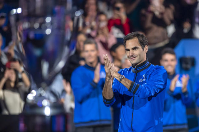 Team Europe's Roger Federer, arrives, during a ceremony at the Laver Cup tennis event, in Geneva, Switzerland, Friday, Sept. 20, 2019. (Martial Trezzini/Keystone via AP)