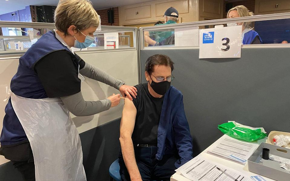 Shakin' Stevens getting the Oxford/AstraZeneca vaccine at Adams Park Stadium in High Wycombe, - PA
