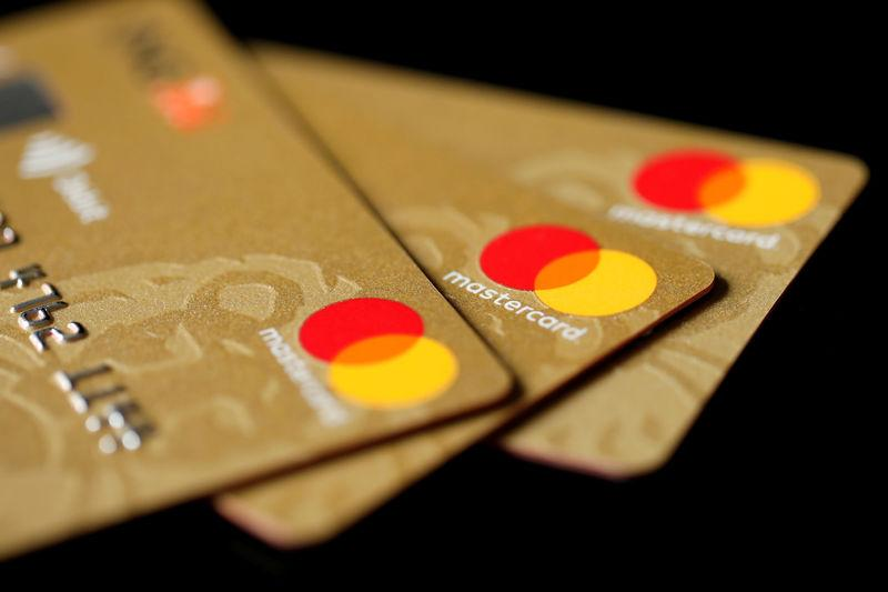 Mastercard Inc. credit cards are displayed in this picture illustration