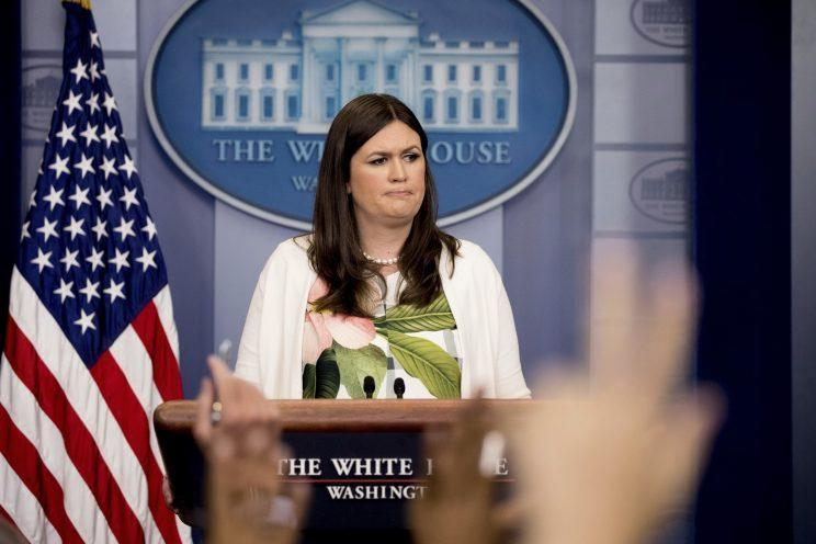 Sarah Huckabee Sanders at the daily press briefing on Monday. (Photo: Andrew Harnik/AP)