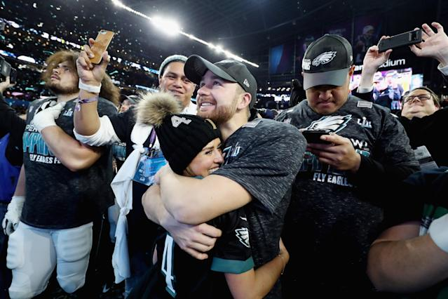 <p>Jake Elliott #4 of the Philadelphia Eagles celebrates after defeating the New England Patriots 41-33 in Super Bowl LII at U.S. Bank Stadium on February 4, 2018 in Minneapolis, Minnesota. (Photo by Elsa/Getty Images) </p>