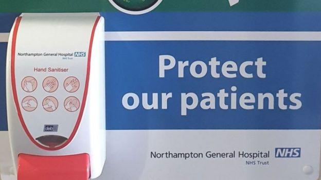 "Sanitiser units have been ""ripped from the walls"" of the hospital. (Northampton General Hospital)"