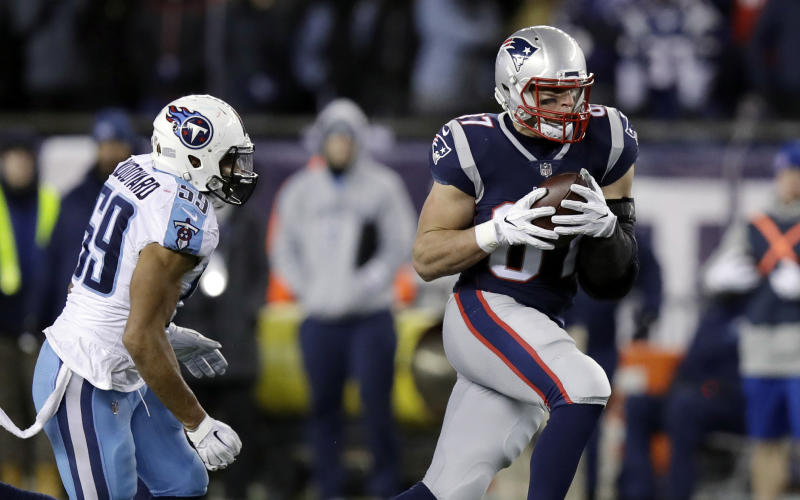 Rob Gronkowski caught six passes for 81 yards and a touchdown last week against the Titans. (AP)