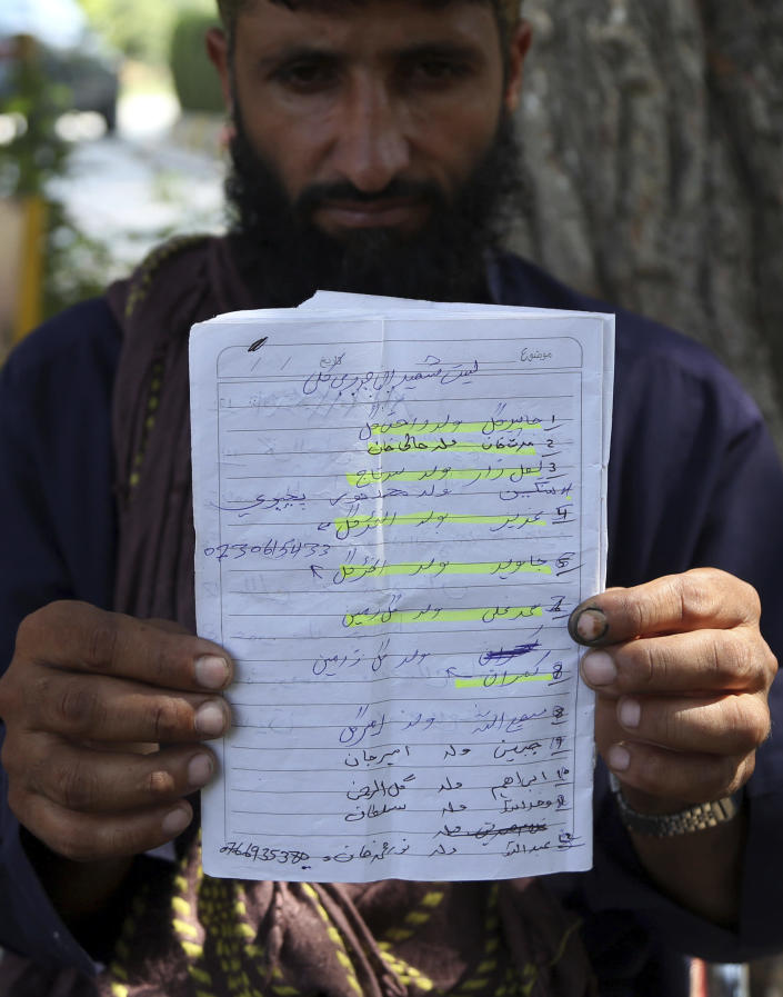 In this Tuesday, Oct. 1, 2019, photo, Abdul Jabar, who lost four members of his family, shows name list of villagers, who ware killed in the airstrike on Sept. 19, in Jalalabad city east of Kabul, Afghanistan, Anger is mounting over the increasing numbers of civilians dying in misdirected US aerial strikes and heavy- handed tactics of CIA-trained Afghan force. Some Afghans calling for Americans to be tried in Afghan courts. (AP Photo/Rahmat Gul)