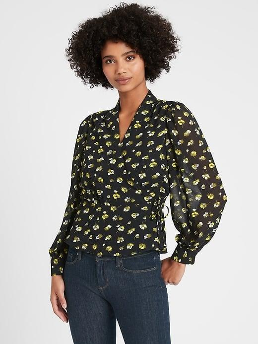 <p>I wanted to start with one of the great floral blouses I'm eyeing. Check out this floral <span>Banana Republic Wrap-Top</span> ($20, originally $85). </p>