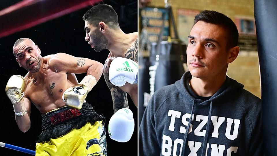 Pictured right, Tim Tszyu says he couldn't watch the fight between Michael Zerafa and Anthony Mundine.