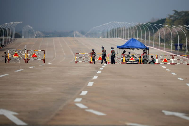worMyanmar's police checkpoint is seen on the way to the congress compound in Naypyitaw
