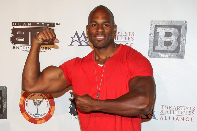 FILE - In this July 15, 2013 file photo, professional wrestler Shad Gaspard attends the 8th Annual BTE All-Star Celebrity Kickoff Party at the Playboy Mansion in Beverly Hills, Calif. The former World Wrestling Entertainment pro remained missing Tuesday, May 19, 2020 after being swept out to sea while swimming with his young son over the weekend off Southern California, police said. Gaspard's 10-year-old son Aryeh was rescued and several other swimmers made it out of the water safely after they were caught in a rip current Sunday afternoon at Venice Beach in Los Angeles. (Photo by Paul A. Hebert/Invision/AP, File)