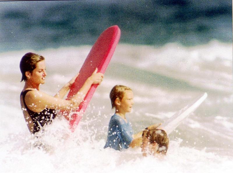 Princess Diana surfing in Nevis (Reuters)