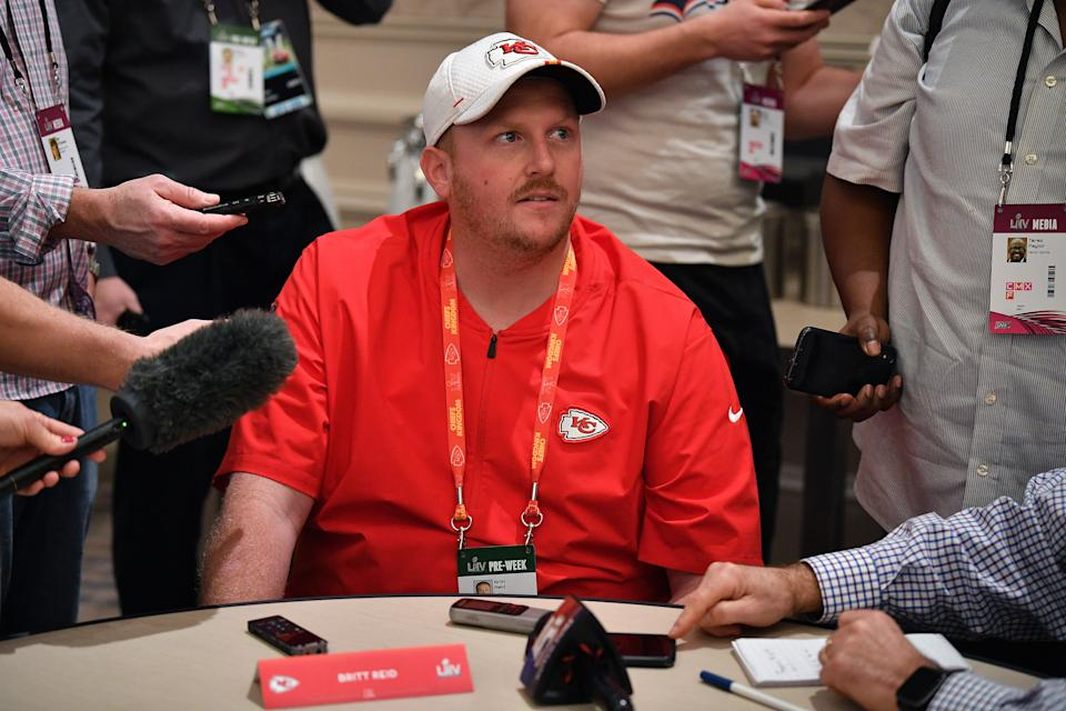 AVENTURA, FLORIDA - JANUARY 29: Britt Reid Linebackers coach for the Kansas City Chiefs speaks to the media during the Kansas City Chiefs media availability prior to Super Bowl LIV at the JW Marriott Turnberry on January 29, 2020 in Aventura, Florida. (Photo by Mark Brown/Getty Images)