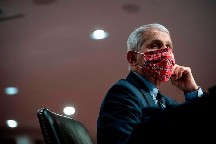 Anthony Fauci, director of the National Institute of Allergy and Infectious Diseases, wears a face covering during a Senate hearing in Washington, DC, on June 30, 2020. (Photo: AL DRAGO via Getty Images)