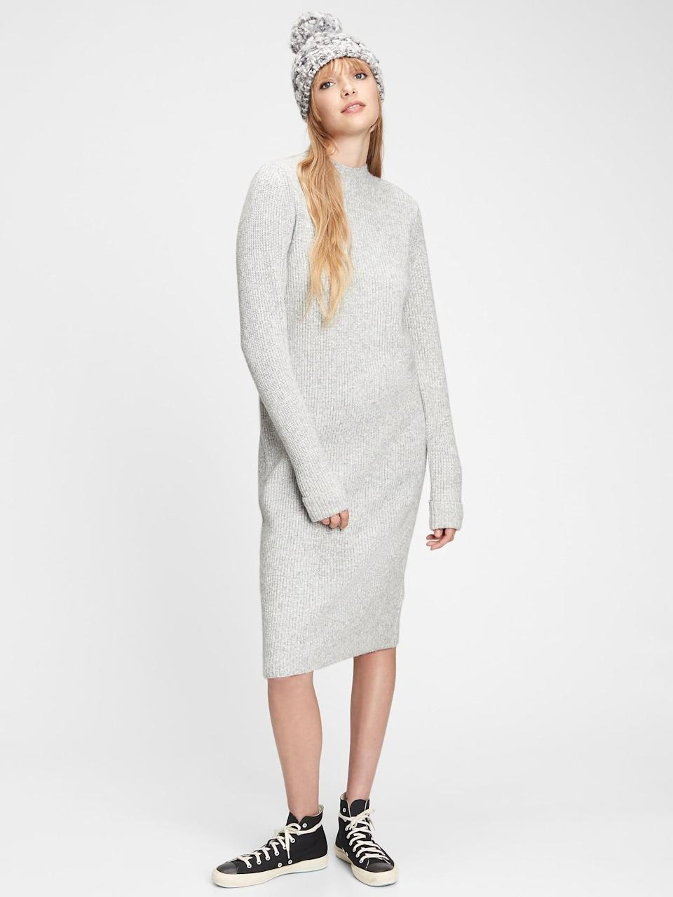 <p>This <span>Gap Mockneck Column Dress</span> ($65) is a no-brainer to throw on for errands. Pair with a pair of classic white sneakers and chunky bracelets.</p>