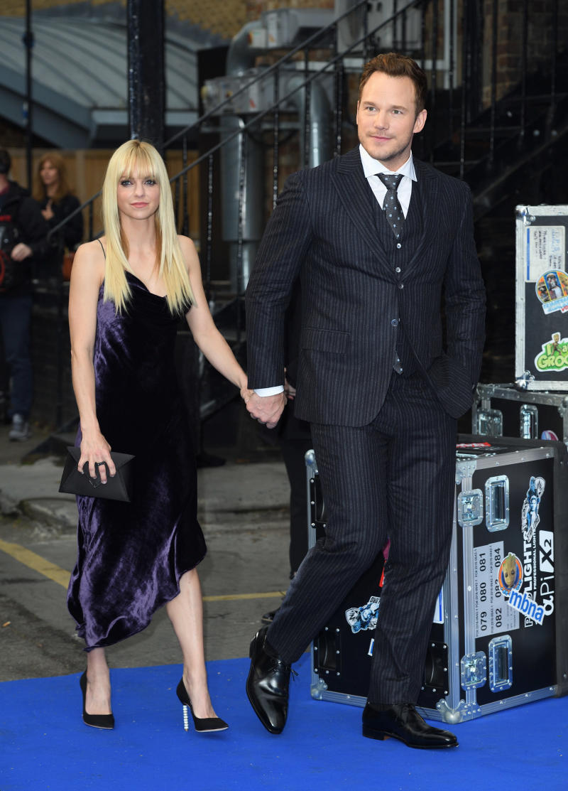 """Anna Faris and Chris Pratt ascreening of """"Guardians of the Galaxy: Vol. 2"""" months before announcing their split. (Karwai Tang via Getty Images)"""
