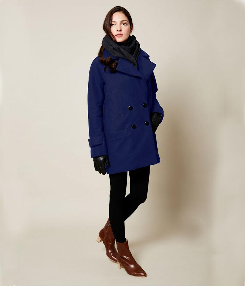 """<p>This wool-free, unisex peacoat, show in cobalt, is from Vaute, the Brooklyn-based company that's been leading the charge toward vegan winter warmth since its 2008 founding by Chicago native Leanne Mai-ly Hilgart. Cruelty-free fabric coats are constructed from recycled fibers, Primaloft insulation, and high-tech satin liners, and have been tested in """"blizzards and snowstorms around the world."""" (<a rel=""""nofollow"""" href=""""https://vautecouture.com/collections/gender-neutral-coats/products/copy-of-presale-the-classic-vaute-peacoat-in-cobalt-on-her"""">$645, Vaute</a>) </p>"""