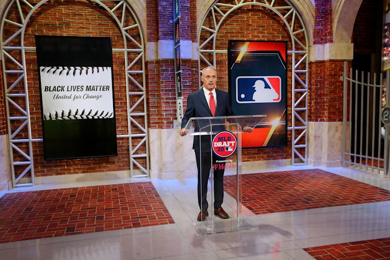 SECAUCUS, NJ - JUNE 10: Major League Baseball Commissioner Robert D. Manfred Jr. makes an opening statement about #BlackLivesMatter and Major League Baseball during the 2020 Major League Baseball Draft at MLB Network on Wednesday, June 10, 2020 in Secaucus, New Jersey. (Photo by Alex Trautwig/MLB Photos via Getty Images)