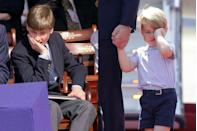 <p>Being a royal can be exhausting work, and sometimes it's hard to disguise feelings of lethargy. On the left, Prince William rests on his hand during a VE Commemoration in Hyde Park, and on the right, Prince George arrives jet-lagged in Berlin for a three-day visit to Germany.</p>