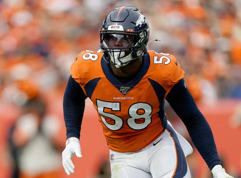 FILE - In this Sunday, Sept. 15, 2019 file photo, Denver Broncos outside linebacker Von Miller (58) lines up against the Chicago Bears during the second half of an NFL football game in Denver. Star linebacker Von Miller says his sprained left MCL that ended his 95-game starting streak might sideline him again Sunday, Dec. 8, 2019 when the Denver Broncos visit the Houston Texans. (AP Photo/Jack Dempsey, File)