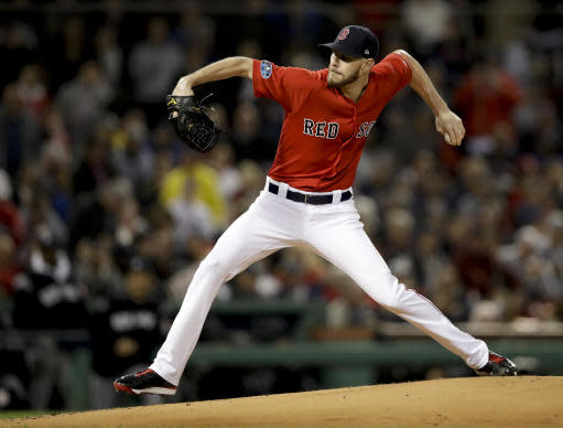 Boston Red Sox starting pitcher Chris Sale throws to a New York Yankees batter during the first inning of Game 1 of a baseball American League Division Series on Friday, Oct. 5, 2018, in Boston. (AP Photo/Charles Krupa)