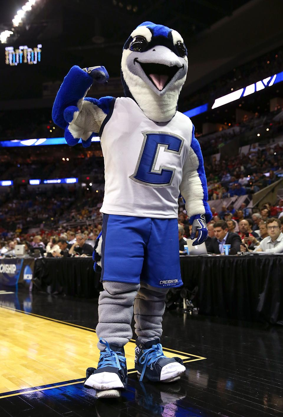 SAN ANTONIO, TX - MARCH 21:  The Creighton Bluejays mascot stands on the court in the second half against the Louisiana Lafayette Ragin Cajuns during the second round of the 2014 NCAA Men's Basketball Tournament at AT&T Center on March 21, 2014 in San Antonio, Texas.  (Photo by Tom Pennington/Getty Images)