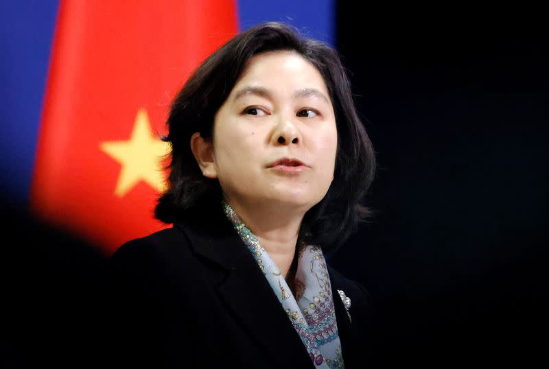 FILE PHOTO: Chinese spokeswoman Hua Chunying holds news conference in Beijing