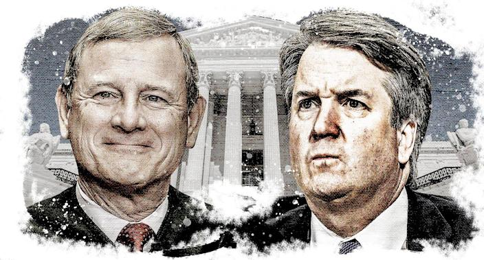 Chief Justice John Roberts and Supreme Court nominee Judge Brett Kavanaugh. (Photo illustration: Yahoo News; photos: AP, Getty Images)