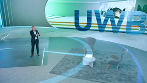 NXP CEO, Kurt Sievers, demonstrates how ultra-wideband technology precisely tracks objects at NXP Connects 2020