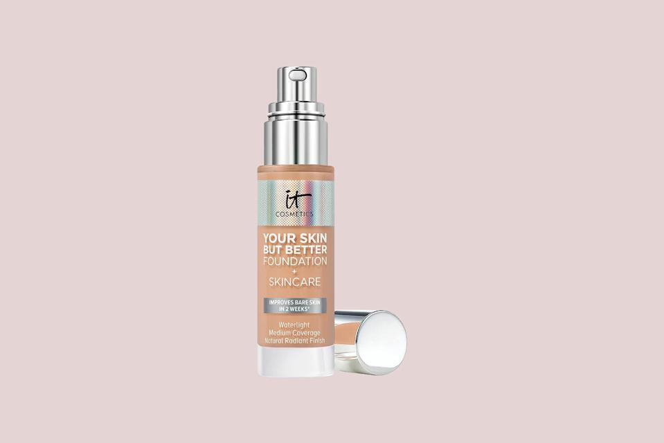"""<p>Looking for a foundation with medium coverage and a natural finish? This is the option for you, says board-certified dermatologist <a href=""""https://www.mdcsnyc.com/provider/marisa-k-garshick-md"""" rel=""""nofollow noopener"""" target=""""_blank"""" data-ylk=""""slk:Dr. Marisa Garshick"""" class=""""link rapid-noclick-resp"""">Dr. Marisa Garshick</a>, noting that it contains """"<a href=""""https://www.marthastewart.com/7796802/hyaluronic-acid-beauty-products"""" rel=""""nofollow noopener"""" target=""""_blank"""" data-ylk=""""slk:hyaluronic acid"""" class=""""link rapid-noclick-resp"""">hyaluronic acid</a> and aloe vera to help hydrate and leave the skin looking smooth."""" Vitamins E and B5 provide additional moisture and antioxidant effects to help support the skin barrier, she adds.</p> <p><strong><em>Shop Now: </em></strong><em>IT Cosmetics Your Skin But Better Foundation + Skincare, $40, </em><a href=""""https://shop-links.co/1717081930116460545"""" rel=""""nofollow noopener"""" target=""""_blank"""" data-ylk=""""slk:ulta.com"""" class=""""link rapid-noclick-resp""""><em>ulta.com</em></a><em>.</em></p>"""