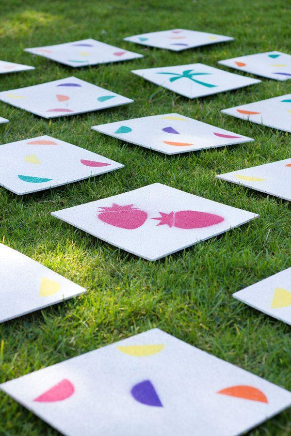 """<p>You can easily recreate this memory activity with cork tiles, stencils, and spray paint. It's a fun game for all ages!</p><p><strong>Get the tutorial at <a href=""""https://studiodiy.com/diy-giant-lawn-matching-game/"""" rel=""""nofollow noopener"""" target=""""_blank"""" data-ylk=""""slk:Studio DIY"""" class=""""link rapid-noclick-resp"""">Studio DIY</a>. </strong></p><p><a class=""""link rapid-noclick-resp"""" href=""""https://www.amazon.com/Boley-Spray-Chalk-Paint-Washable/dp/B08CYB14DS/?tag=syn-yahoo-20&ascsubtag=%5Bartid%7C2164.g.36687460%5Bsrc%7Cyahoo-us"""" rel=""""nofollow noopener"""" target=""""_blank"""" data-ylk=""""slk:SHOP SPRAY PAINT"""">SHOP SPRAY PAINT</a></p>"""