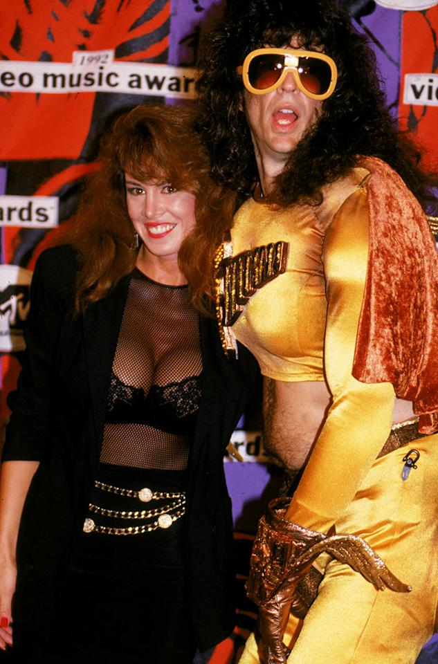 "Here is a classic Stern antic you may have forgotten about: Stern came as ""Fartman"" to the 1992 MTV Awards and refused to ""break"" character. Here's the prankster with Jessica Hahn, who was a regular on Stern's radio show for years. <a href=""http://bit.ly/yVrlv3"" rel=""nofollow"">View the entire gallery at Snakkle.</a>"