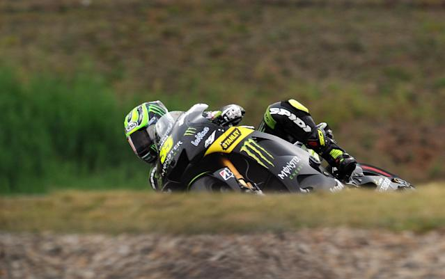 Moto GP rider Cal Crutchlow of Great Britain speeds his Yamaha during the free practice session ahead of tomorrow's Czech Republic MotoGP category on August 25, 2012 in Brno. AFP PHOTO/ MICHAL CIZEKMICHAL CIZEK/AFP/GettyImages