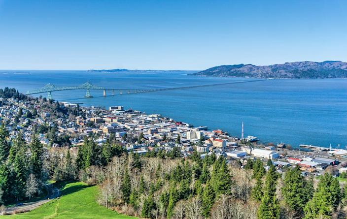 """<p><strong>Established in:</strong> 1811</p><p>Astoria is the <a href=""""https://www.astoria.or.us/History.aspx"""" rel=""""nofollow noopener"""" target=""""_blank"""" data-ylk=""""slk:oldest American settlement"""" class=""""link rapid-noclick-resp"""">oldest American settlement</a> west of the Rocky Mountains and was established when New York financier John Jacob Astor sent fur traders to the area. It has close ties to the Lewis & Clark trails as well. <br></p>"""
