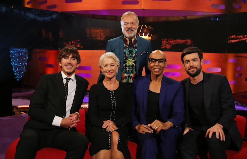 Host Graham Norton with (seated left to right) Simon Reeves, Helen Mirren, RuPaul, and Jack Whitehall during the filming for the Graham Norton Show at BBC Studioworks 6 Television Centre, Wood Lane, London, to be aired on BBC One on Friday evening. (Photo by Isabel Infantes/PA Images via Getty Images)