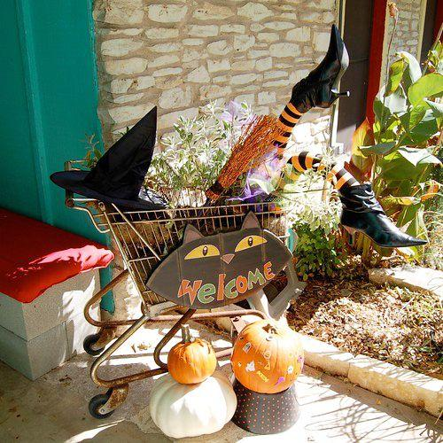 "<p><a href=""https://jenniferperkins.com/wishing-you-a-witchy-halloween/"" target=""_blank"">Jennifer Perkins</a> got creative with some pool noodles, a rusty old shopping cart, and a pair of black pointy-toed boots. This DIY Halloween porch decor is the perfect balance between funny and spooky, and even better, it just requires a little resourcefulness.</p>"