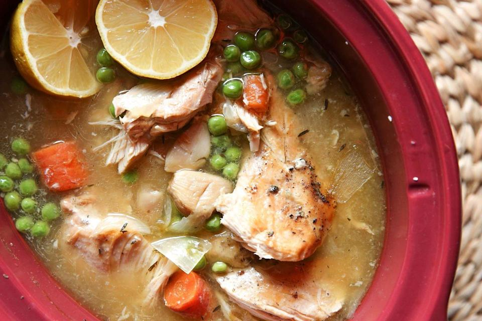 """<p>Chicken tastes even better when you can set it and forget it. Just leave out the peas!<br></p><p>Get the recipe from <a href=""""https://www.delish.com/cooking/recipe-ideas/recipes/a51690/slow-cooker-lemon-garlic-chicken-recipe/"""" rel=""""nofollow noopener"""" target=""""_blank"""" data-ylk=""""slk:Delish"""" class=""""link rapid-noclick-resp"""">Delish</a>.</p>"""